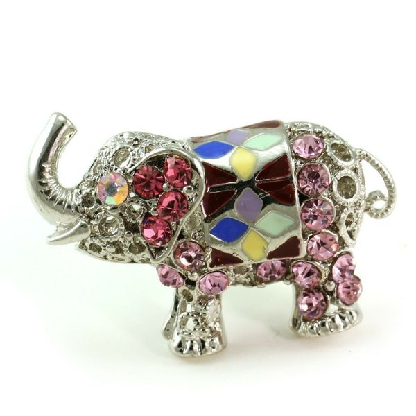 Pink Baby Elephant Ring Silver Tone Color Stone Crystal Cocktail Ladies Jewelry