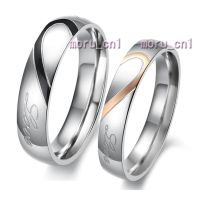 Classic Heart Shape Matching Wedding Bands Titanium Couple ...