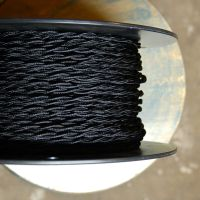 Black Twisted Rayon Covered Wire, Vintage Style, Cloth