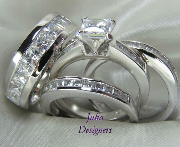 Engagement Wedding Band Ring Set Sterling Silver Mens Womens Sz 4-13