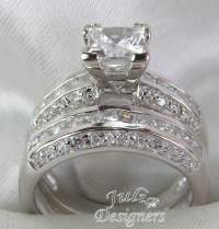 2.53ct Princess Cut Engagement Wedding Ring Set, Sterling