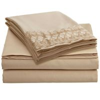 1800 Count 4 Piece Deep Pocket Bed Bed Sheet Set with Lace