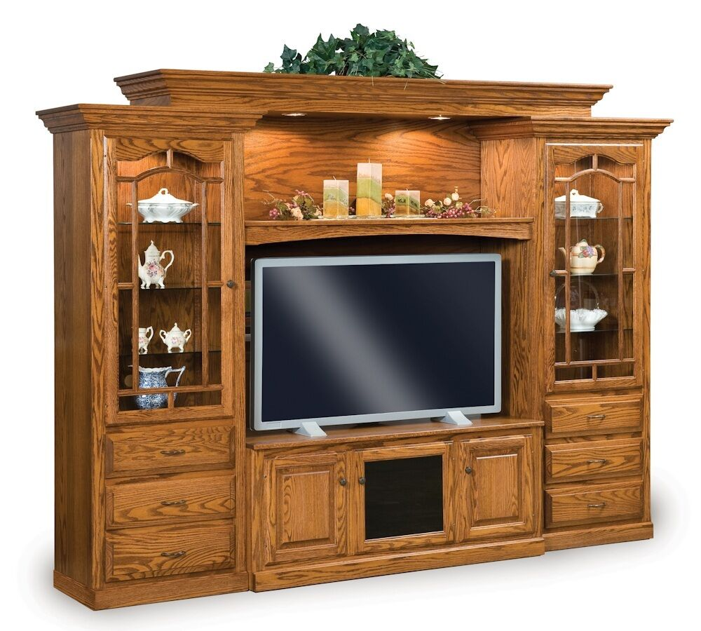 Amish TV Entertainment Center Solid Oak Wood Media Wall