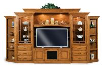 Amish Hoosier TV Entertainment Center Wall Unit Solid Oak ...