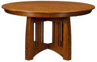 Amish Mission Round Pedestal Dining Table Rustic Modern ...