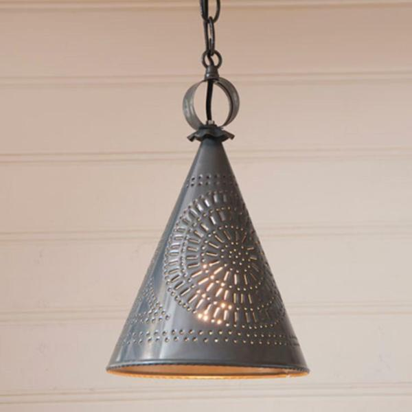 Country Tin Sturbridge Witch Hat Punched Ceiling Light
