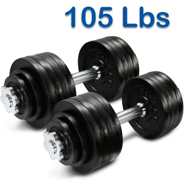 Yes4all 105 Lbs Adjustable Dumbbells Set Gym Cap Plate Weight Fitness - Dwp2f