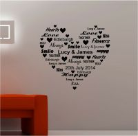 PERSONALISED WORD HEART vinyl wall art QUOTE sticker LOVE ...