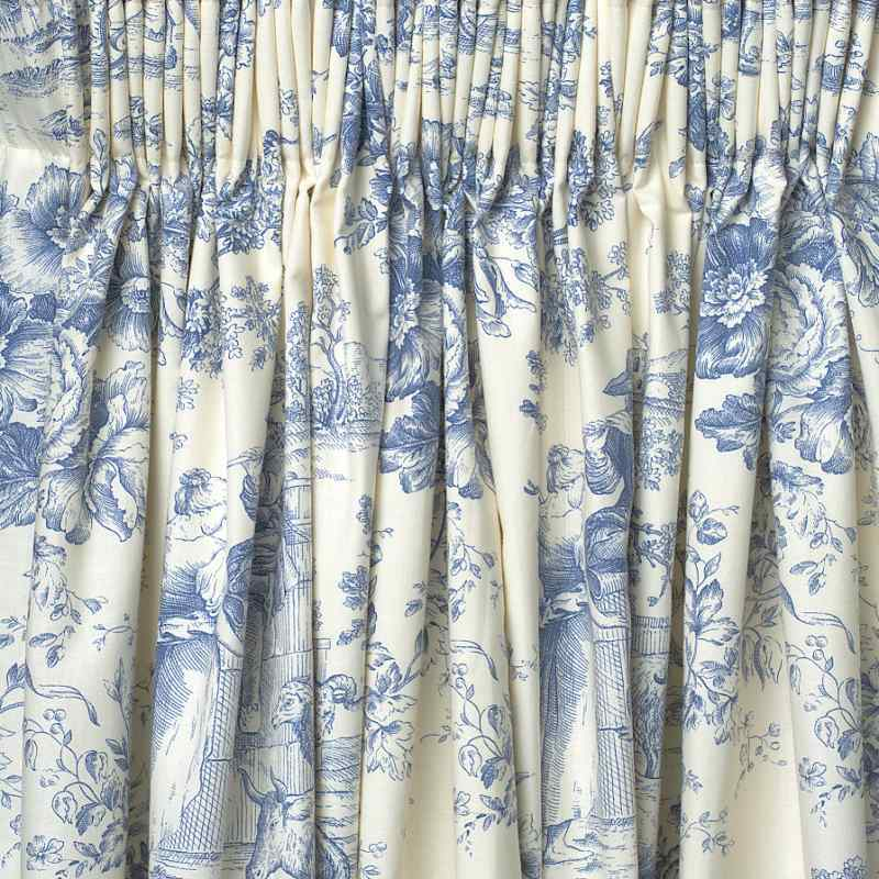 "Toile De Jouy Blue Ready Made Curtains 66"" X 72"" Lined"