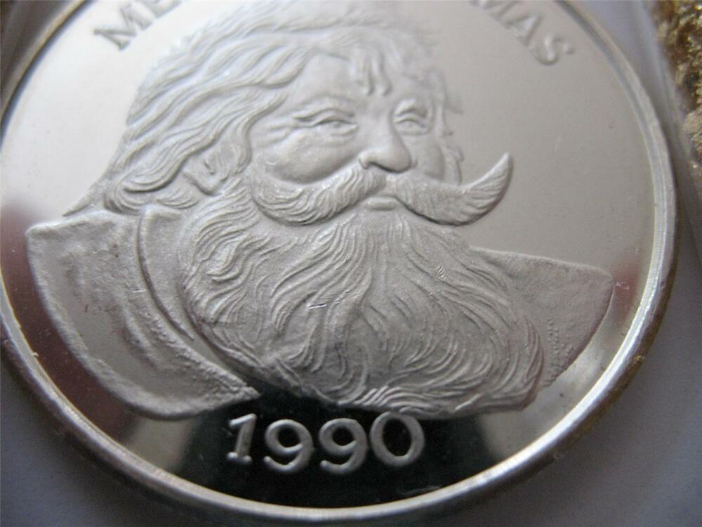 1 OZ999 RARE SILVER 1990 CURRIER IVES CHRISTMAS SANTA