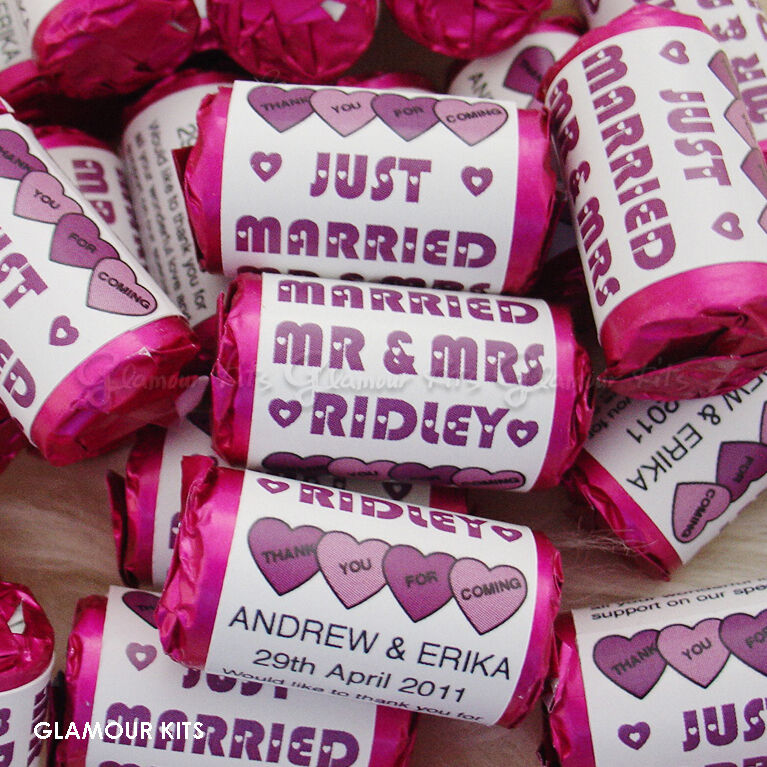 100 PERSONALISED PURPLE MINI LOVE HEART SWEETS WEDDING CANDY PARTY FAVOURS  eBay