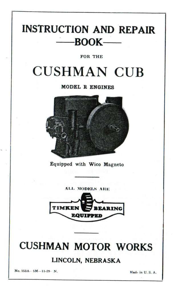 Cushman Cub model R gas engine motor Manual book hit