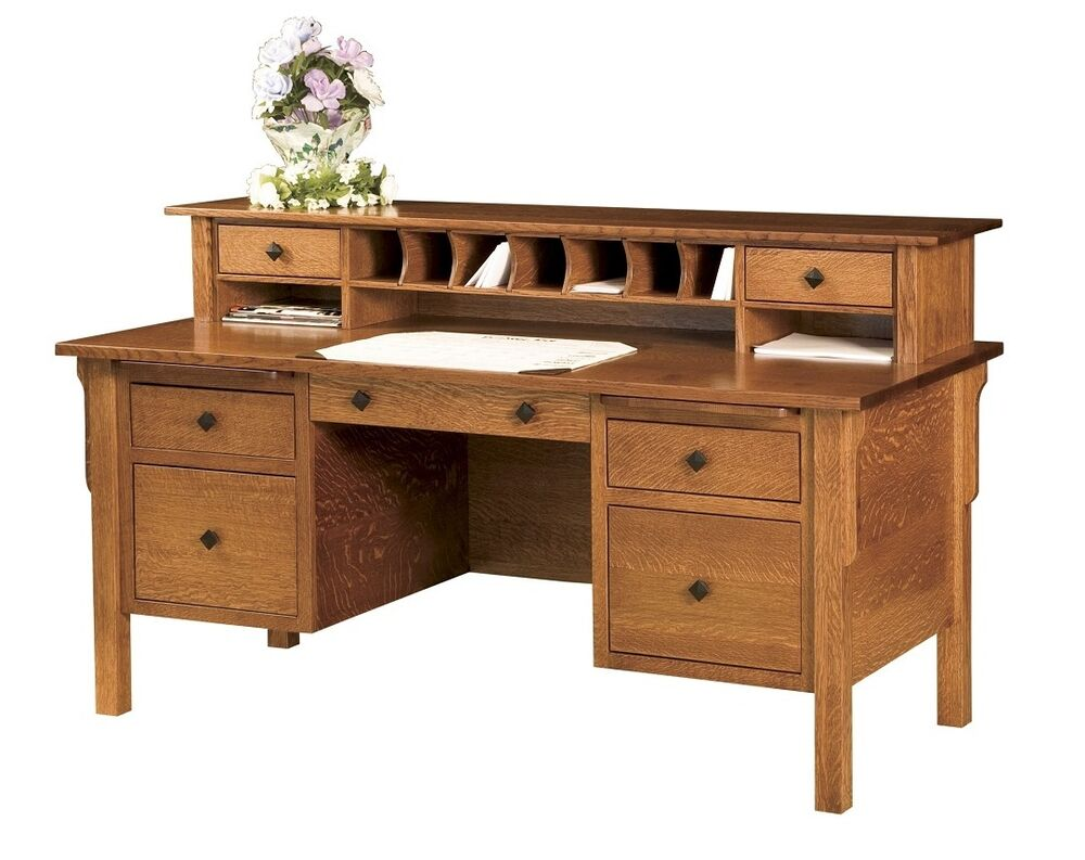 Amish Computer File Desk Mission Solid Wood Home Office