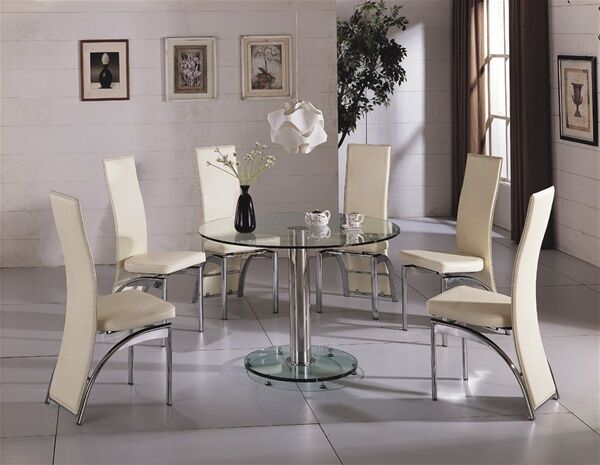 CAPRI ROUND GLASS CHROME DINING ROOM TABLE Amp 4 CHAIRS SET