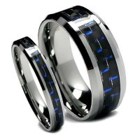 Matching Wedding Band Set Tungsten Rings, Blue and Black ...