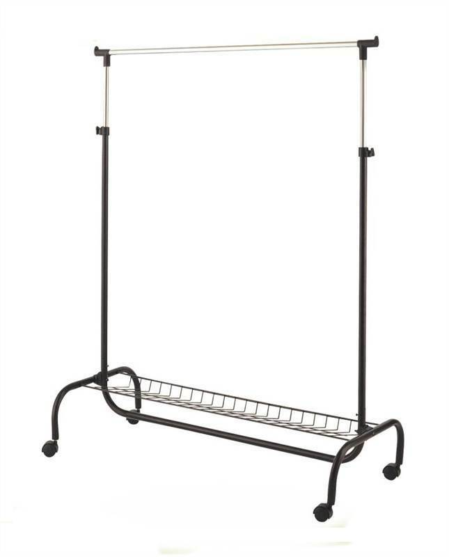 Heavy Duty Portable Clothes Garment Hanging Rail Rack With