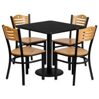 Restaurant Table Chairs 30'' Square Black Laminate with 4 ...