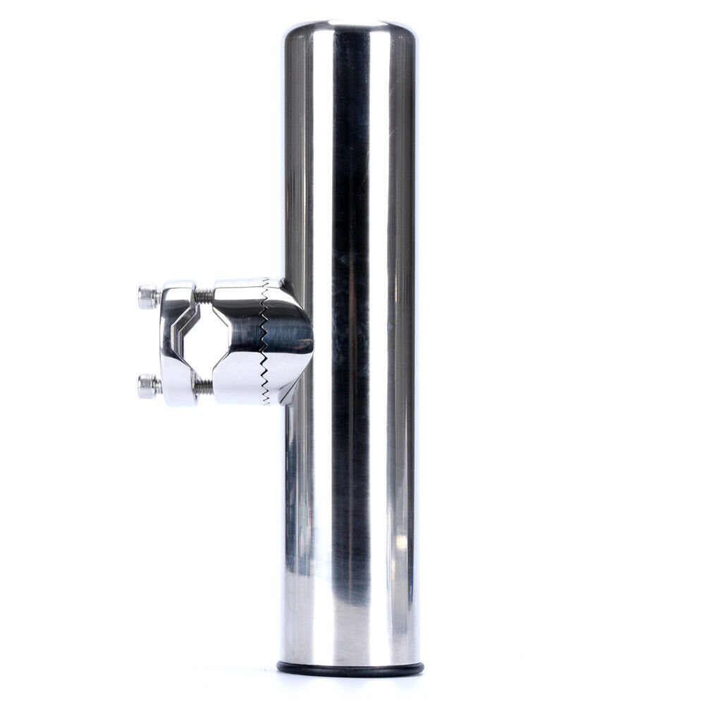 """Stainless Clamp On Fishing Rod Holder For Rails 7/8"""" to 1"""