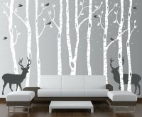 Birch Tree Wall Decal Forest with Birds and Deer Vinyl ...