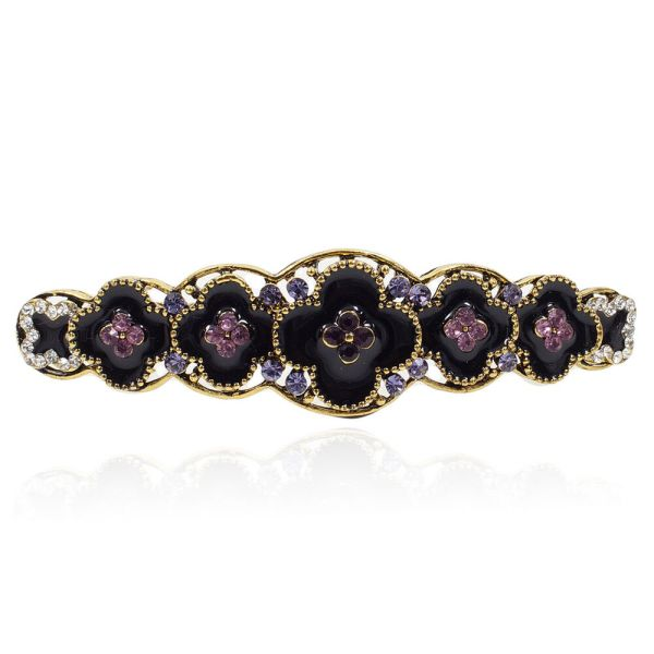 B35 Little Black Plum Flowers Purple Rhinestone Crystal