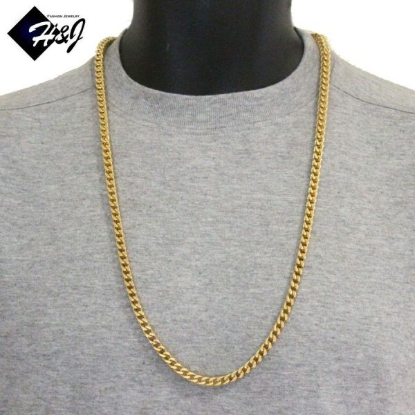 Men' Stainless Steel 6mm Gold Franco Box Cuban Curb Chain Necklace 24