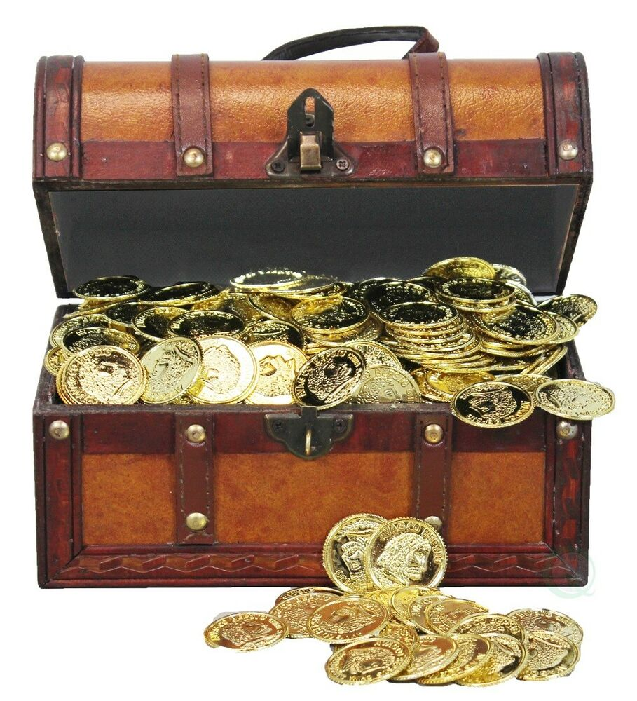 New Vintiquewise Faux Leather Pirate Treasure Chest With 144 Coins, Qi003006p  Ebay
