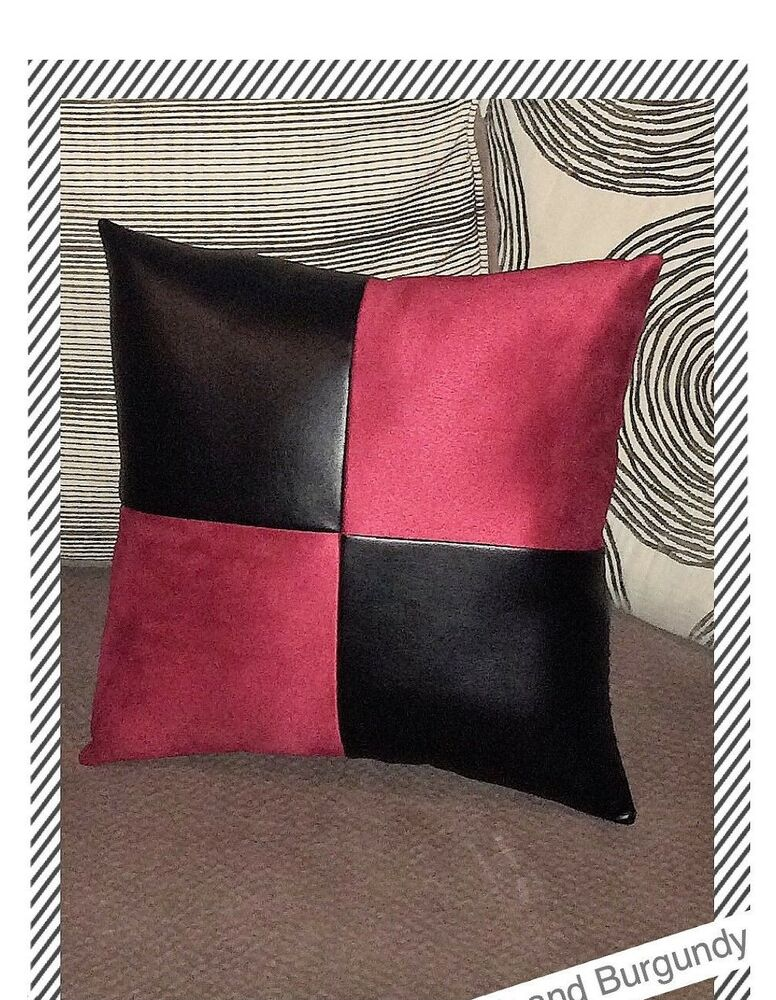 Home Sofa Brown Leather Burgundy Fabric Accent Decorative Cushion Pillow Cover EBay