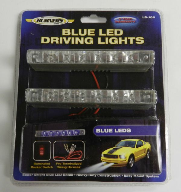 1 Pair Optronics Blue Led Driving Lights Thin Line