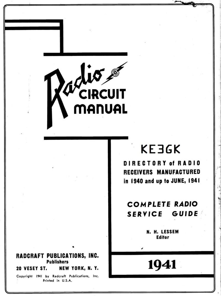 1941 Radio Circuit Manual * Gernsback * RadioCraft * PDF