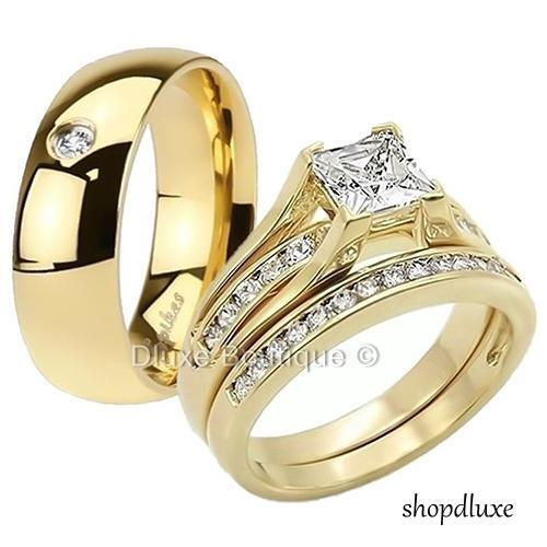 HIS HERS 3 PIECE MENS WOMENS 14K GOLD PLATED WEDDING