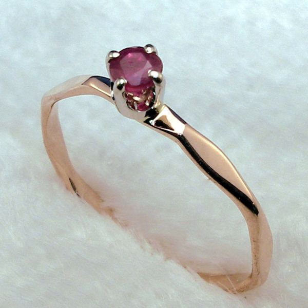 Ruby Baby Keepsake Ring Hand Crafted 14k Rose Gold July Birthday Birthstone