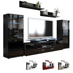 Living Room Furniture Black Gloss How To Decorate A Small Traditional Wall Unit Almada V2 - High ...
