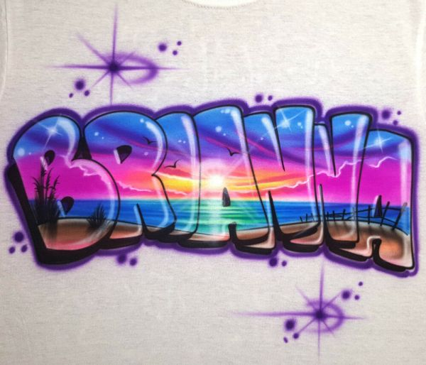 Personalized Beach Scene T- Shirt; Airbrushed With