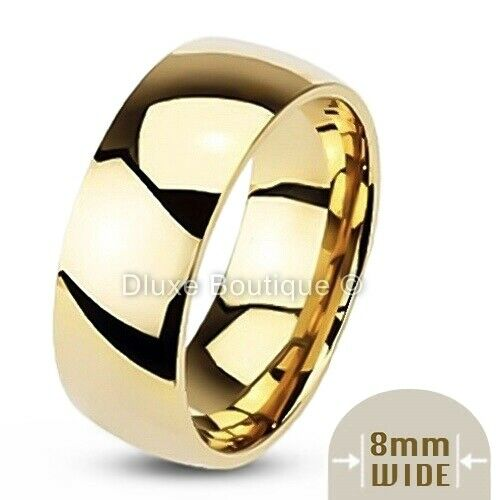Mens 8mm Wide 14k Gold Plated Classic Comfort Fit Wedding