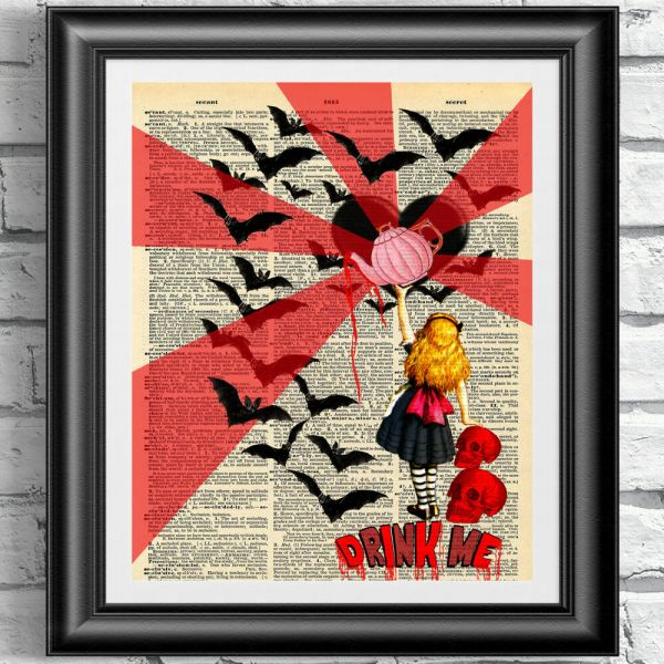 Art Print Dictionary Book Page Gothic Alice In Wonderland