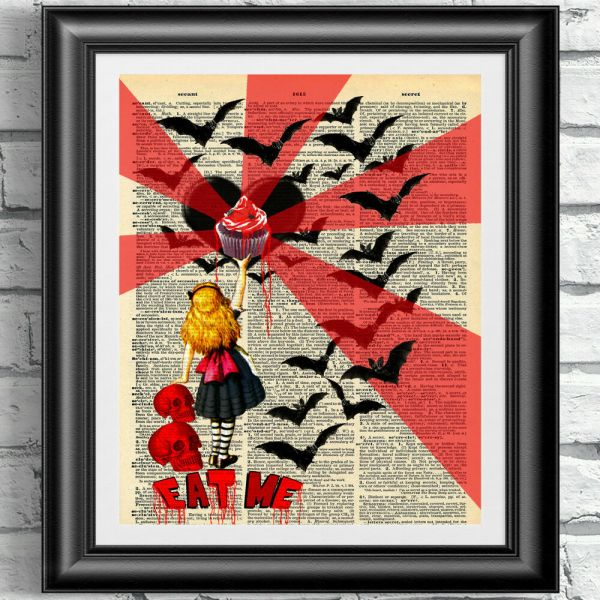 Art Print Gothic Alice In Wonderland Dictionary Book Page