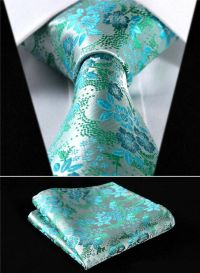 Mens Wedding Tie SALE Teal Turquoise Blue Green Floral