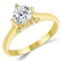 14K Solid Yellow Gold CZ Cubic Zirconia Solitaire