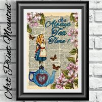 Dictionary book page Mounted Alice in Wonderland Tea time ...