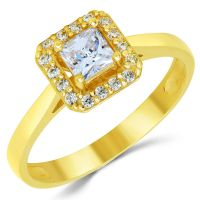 14K Solid Yellow Gold CZ Cubic Zirconia Solitaire Halo ...