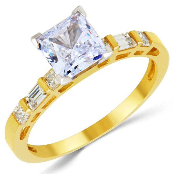 14k Solid Yellow Gold Cz Cubic Zirconia Solitaire Engagement Ring 1.25 Ct