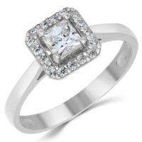 14K Solid White Gold CZ Cubic Zirconia Solitaire Halo ...