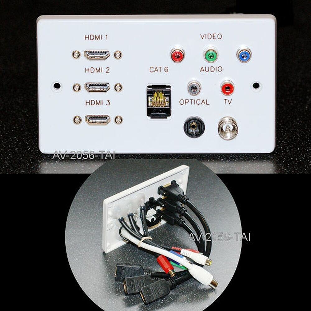 hight resolution of details about av wall plate 3 x hdmi network rgb rca phono optical audio tv sockets