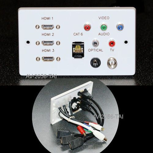 small resolution of details about av wall plate 3 x hdmi network rgb rca phono optical audio tv sockets