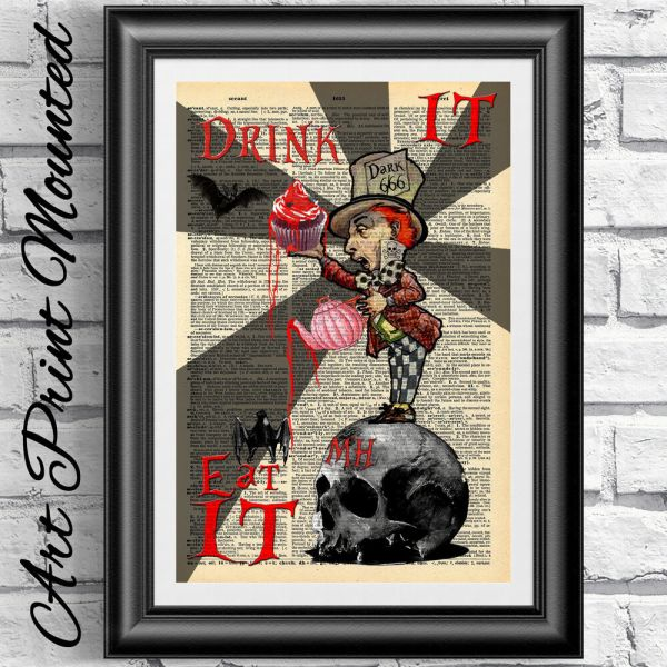 Art Print Dictionary Mounted Gothic Alice In Wonderland