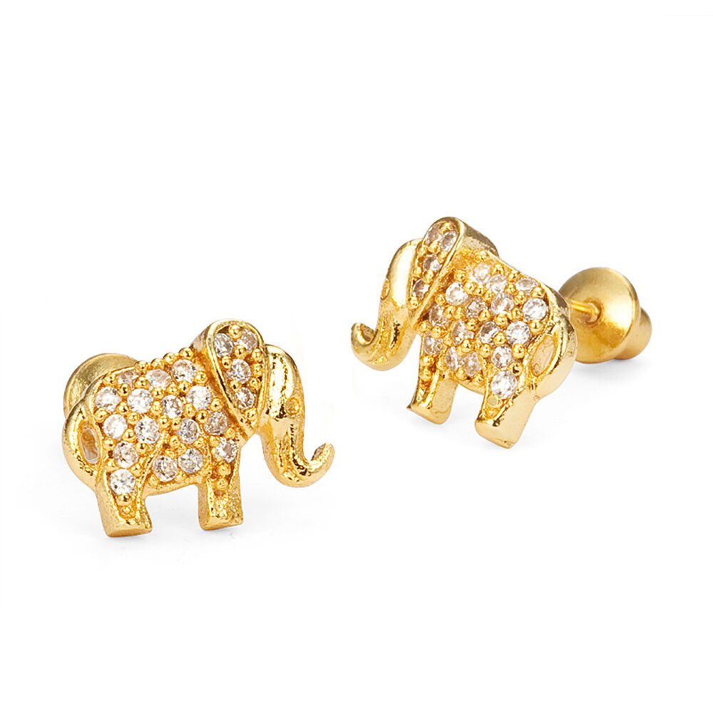 14k Gold Plated Baby Elephant Children Screw Back Baby