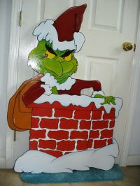 HAND MADE, GRINCH IN CHIMNEY CHRISTMAS YARD ART DECORATION ...
