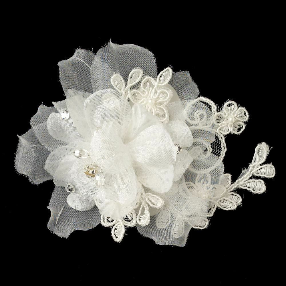 Ivory Organza Floral Lace Pearl Rhinestone Amp Crystal