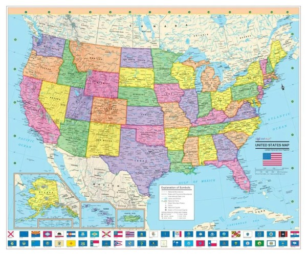 Cool Owl Maps United States Wall Map Poster 24quotx20quot US
