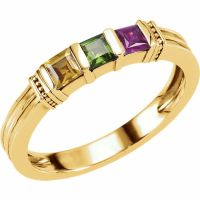 10K or 14K Solid Gold Mother's Birthstone Ring 1